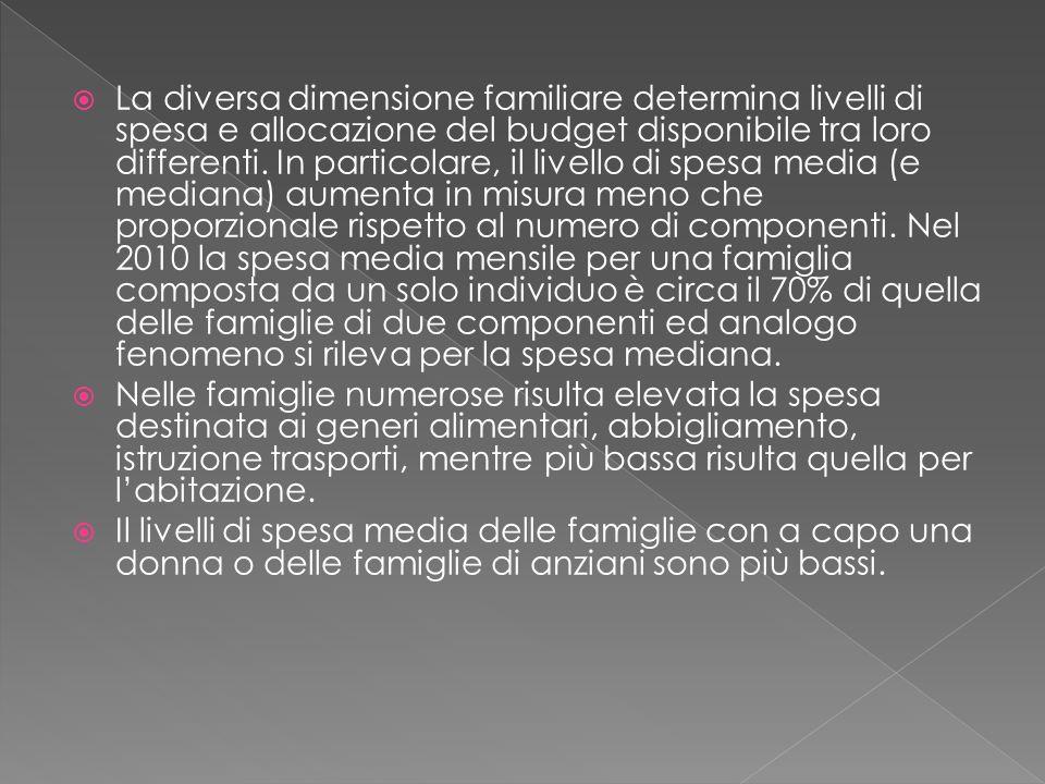  La diversa dimensione familiare determina livelli di spesa e allocazione del budget disponibile tra loro differenti.