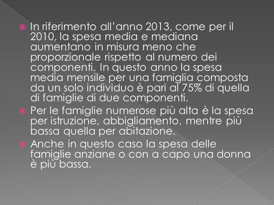  In riferimento all'anno 2013, come per il 2010, la spesa media e mediana aumentano in misura meno che proporzionale rispetto al numero dei componenti.