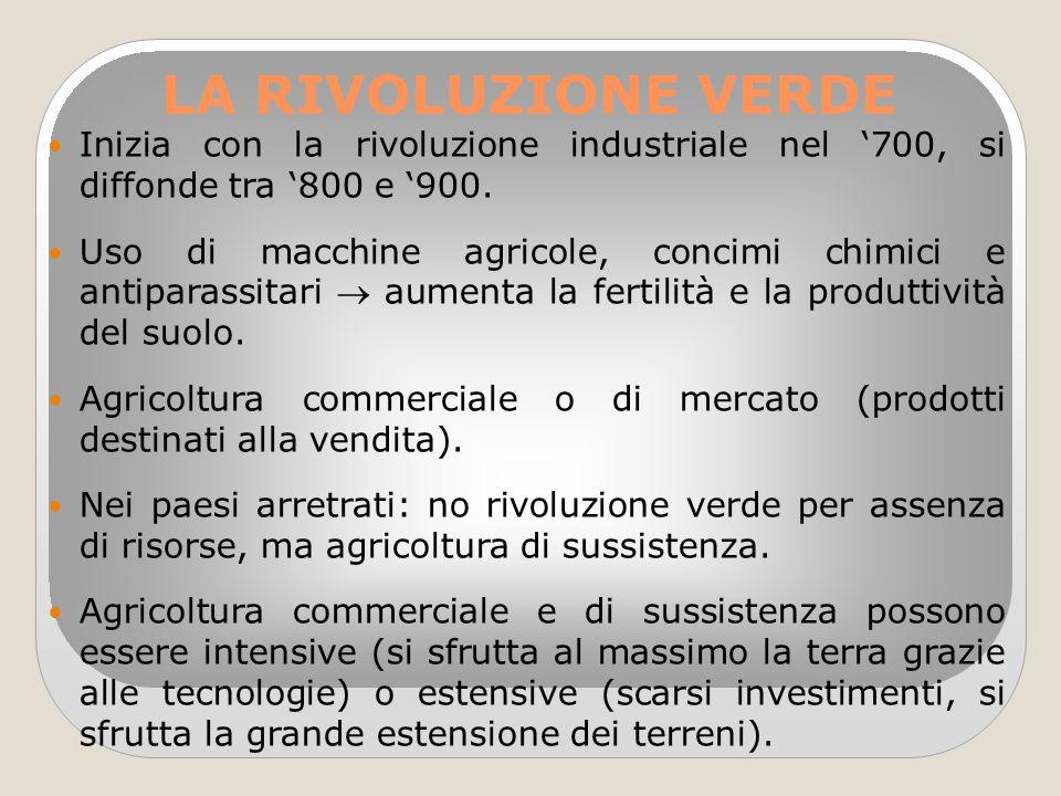 LA RIVOLUZIONE VERDE Inizia con la rivoluzione industriale nel '700, si diffonde tra '800 e '900. Uso di macchine agricole, concimi chimici e antipara