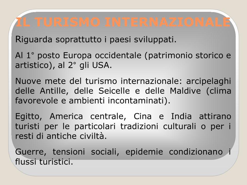 IL TURISMO INTERNAZIONALE R iguarda soprattutto i paesi sviluppati. Al 1° posto Europa occidentale (patrimonio storico e artistico), al 2° gli USA. Nu