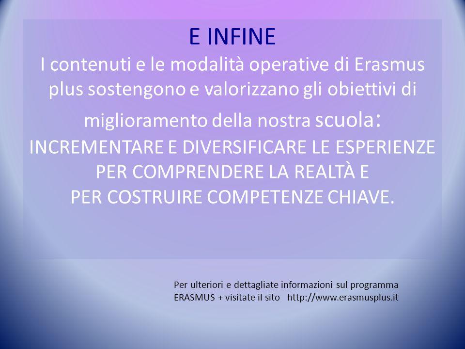 E INFINE I contenuti e le modalità operative di Erasmus plus sostengono e valorizzano gli obiettivi di miglioramento della nostra scuola : INCREMENTARE E DIVERSIFICARE LE ESPERIENZE PER COMPRENDERE LA REALTÀ E PER COSTRUIRE COMPETENZE CHIAVE.