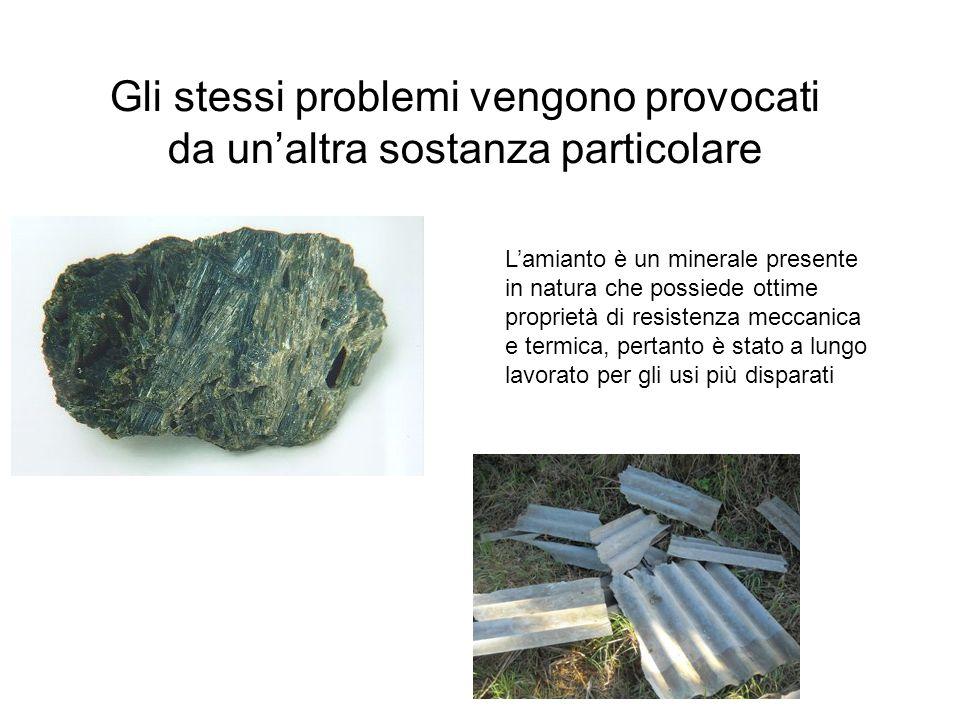 Gli stessi problemi vengono provocati da un'altra sostanza particolare L'amianto è un minerale presente in natura che possiede ottime proprietà di resistenza meccanica e termica, pertanto è stato a lungo lavorato per gli usi più disparati