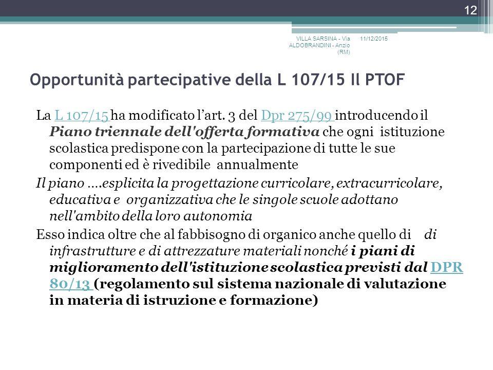 Opportunità partecipative della L 107/15 Il PTOF La L 107/15 ha modificato l'art.