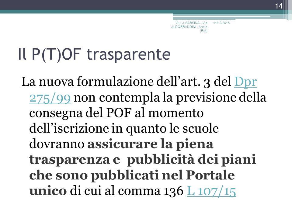 Il P(T)OF trasparente La nuova formulazione dell'art.