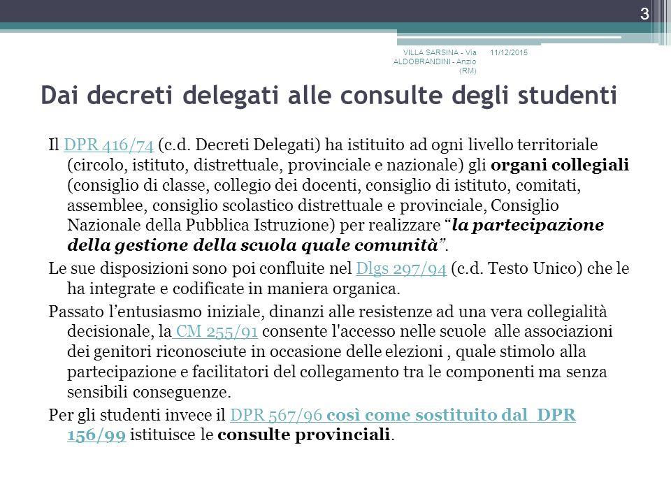Dai decreti delegati alle consulte degli studenti Il DPR 416/74 (c.d.