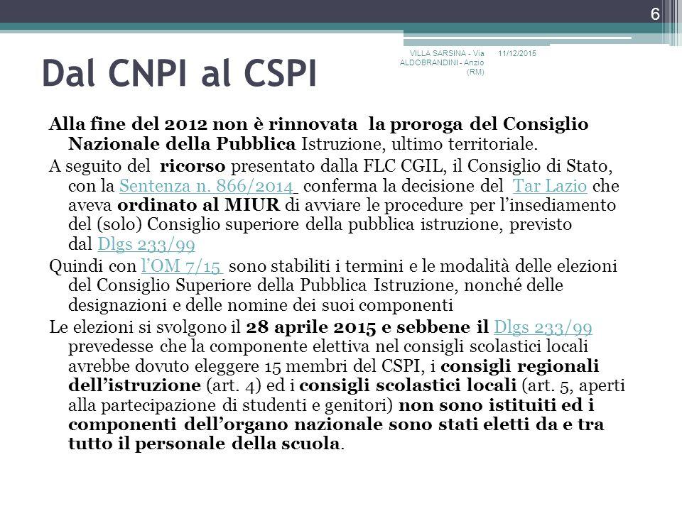 Dal CNPI al CSPI Alla fine del 2012 non è rinnovata la proroga del Consiglio Nazionale della Pubblica Istruzione, ultimo territoriale.