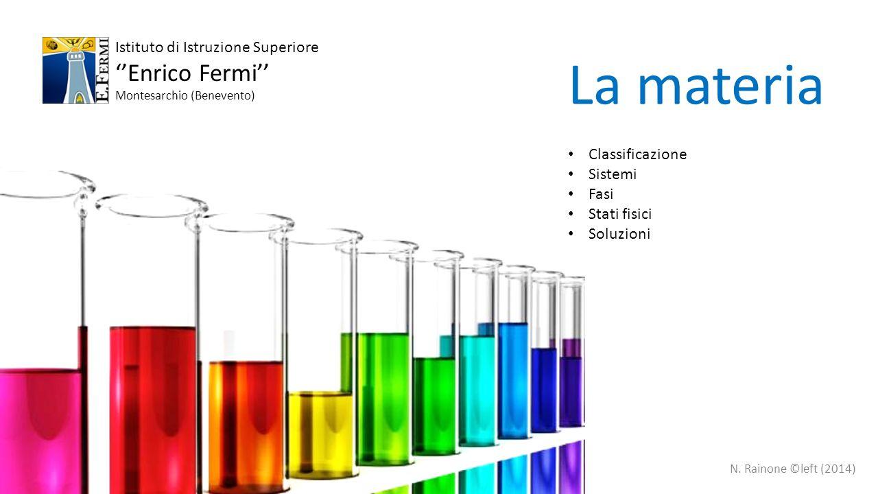 MATERIAmiscugliomogenei SOLUZIONI < 2 nm eterogenei Dispersioni ~10 – 1000 nm Colloidi Solido in liquido Fumi Solido in gas Emulsioni Liquido in liquido Nebbie Liquido in gas Sospensioni > 1000 nm pureSOSTANZE LA MATERIA