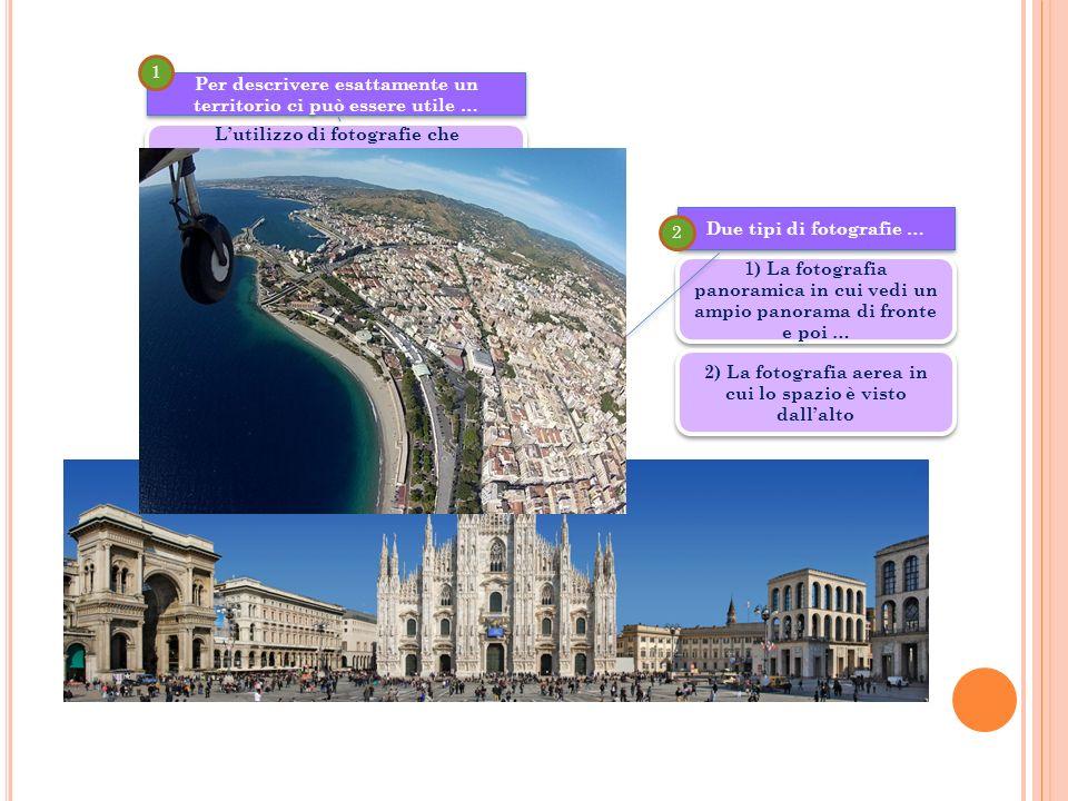 1) La fotografia panoramica in cui vedi un ampio panorama di fronte e poi … Due tipi di fotografie … 2 Per descrivere esattamente un territorio ci può