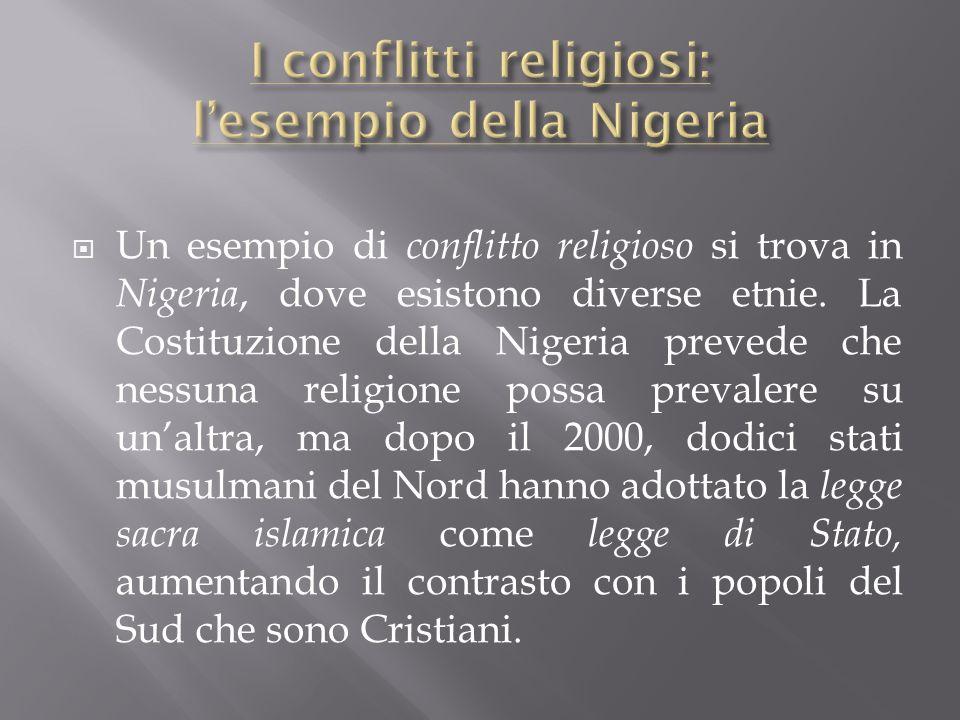  Un esempio di conflitto religioso si trova in Nigeria, dove esistono diverse etnie.