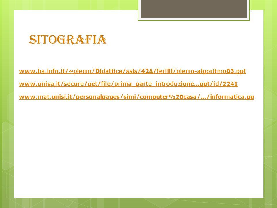 SITOGRAFIA www.ba.infn.it/~pierro/Didattica/ssis/42A/ferilli/pierro-algoritmo03.ppt www.unisa.it/secure/get/file/prima_parte_introduzione...ppt/id/2241 www.mat.unisi.it/personalpages/simi/computer%20casa/.../informatica.pp
