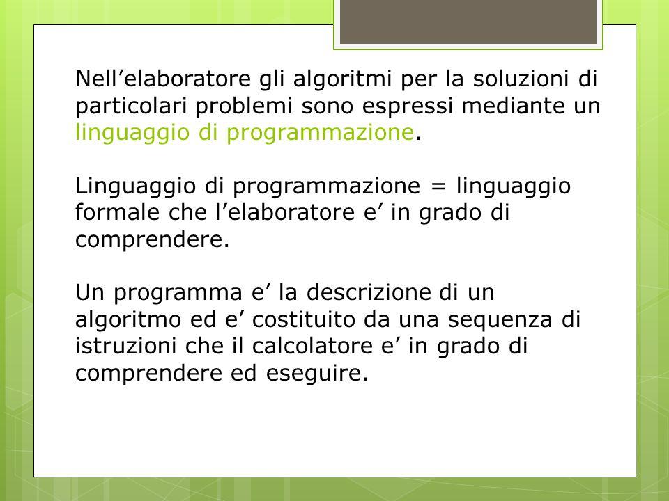 Nell'elaboratore gli algoritmi per la soluzioni di particolari problemi sono espressi mediante un linguaggio di programmazione.