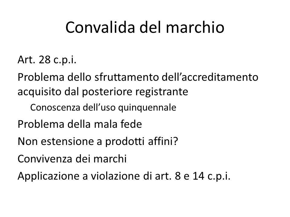 Convalida del marchio Art. 28 c.p.i.