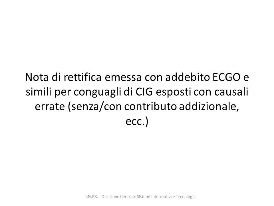 Nota di rettifica emessa con addebito ECGO e simili per conguagli di CIG esposti con causali errate (senza/con contributo addizionale, ecc.) I.N.P.S.