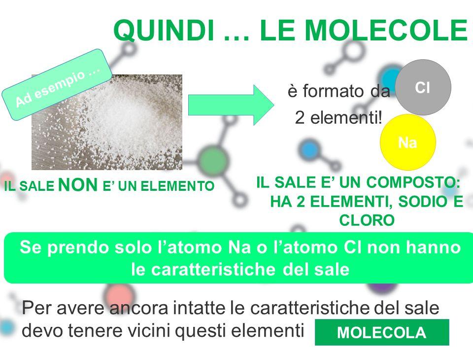 QUINDI … LE MOLECOLE è formato da 2 elementi! Na Cl Per avere ancora intatte le caratteristiche del sale devo tenere vicini questi elementi MOLECOLA I