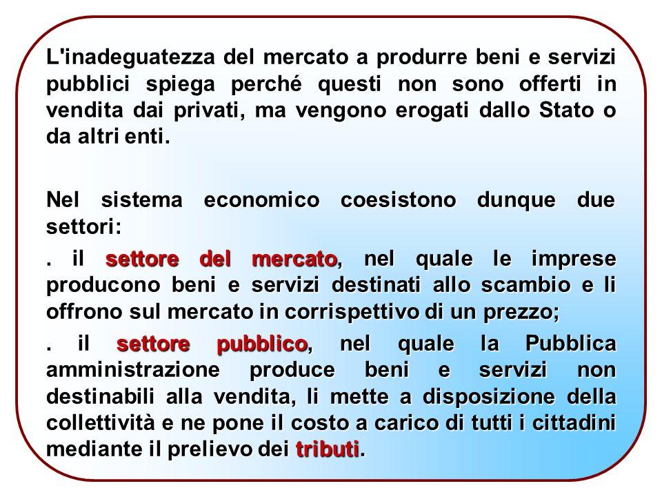 L inadeguatezza del mercato a produrre beni e servizi pubblici spiega perché questi non sono offerti in vendita dai privati, ma vengono erogati dallo Stato o da altri enti.