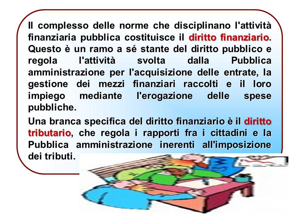Il complesso delle norme che disciplinano l attività finanziaria pubblica costituisce il diritto finanziario.