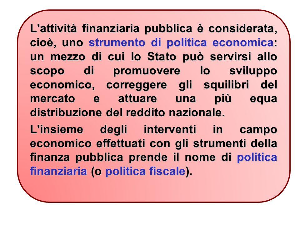 L attività finanziaria pubblica è considerata, cioè, uno strumento di politica economica: un mezzo di cui lo Stato può servirsi allo scopo di promuovere lo sviluppo economico, correggere gli squilibri del mercato e attuare una più equa distribuzione del reddito nazionale.