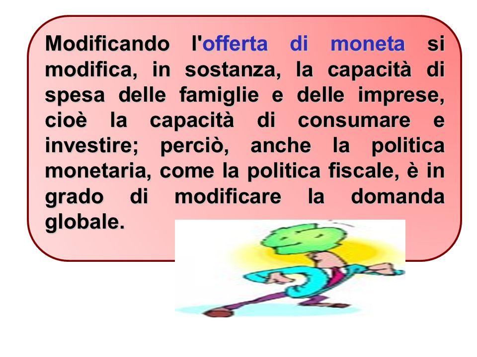Modificando l offerta di moneta si modifica, in sostanza, la capacità di spesa delle famiglie e delle imprese, cioè la capacità di consumare e investire; perciò, anche la politica monetaria, come la politica fiscale, è in grado di modificare la domanda globale.