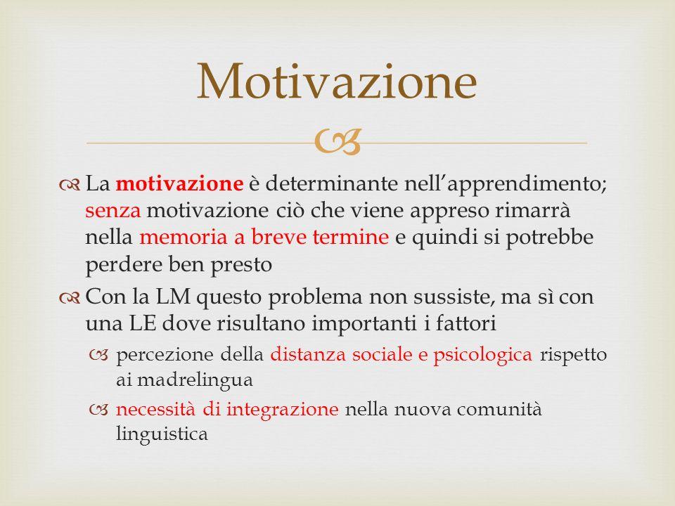   La motivazione è determinante nell'apprendimento; senza motivazione ciò che viene appreso rimarrà nella memoria a breve termine e quindi si potreb