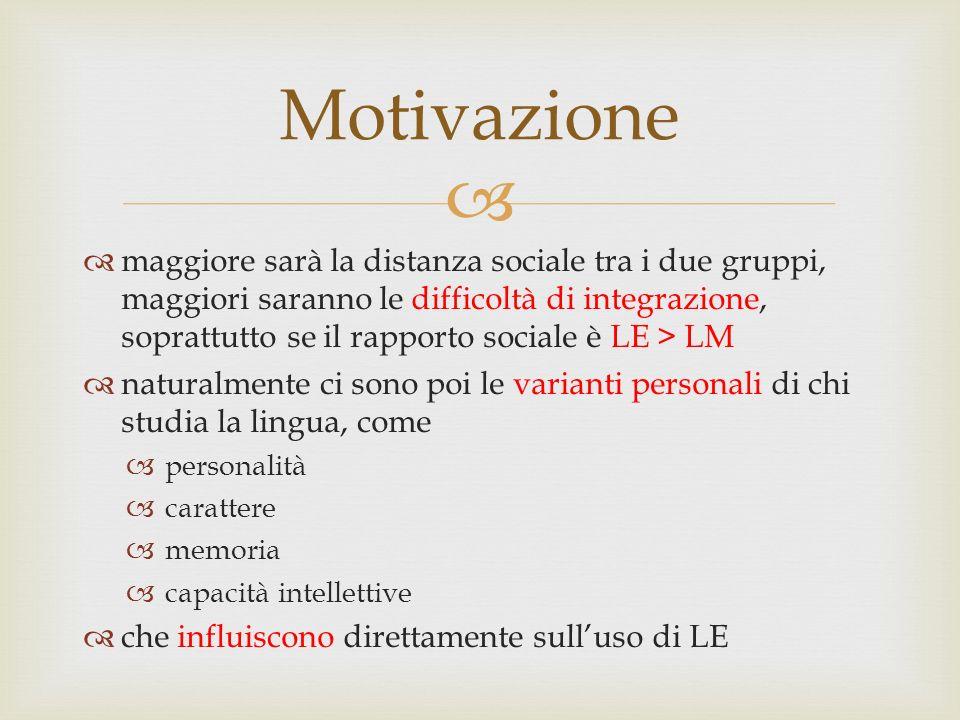   maggiore sarà la distanza sociale tra i due gruppi, maggiori saranno le difficoltà di integrazione, soprattutto se il rapporto sociale è LE > LM 