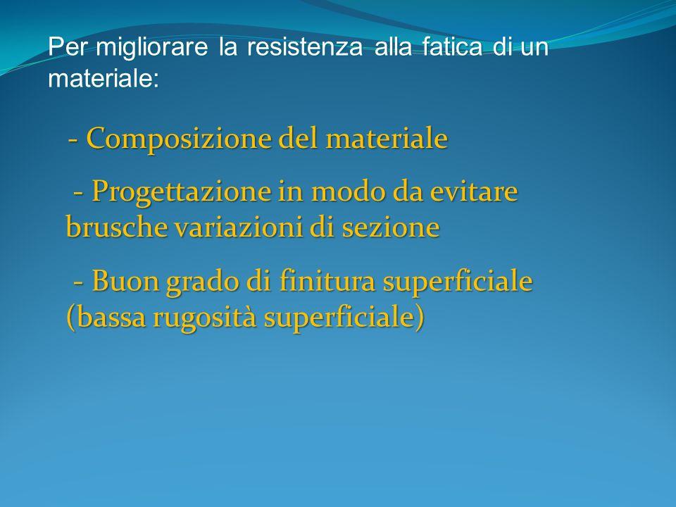Per migliorare la resistenza alla fatica di un materiale: - Composizione del materiale - Composizione del materiale - Progettazione in modo da evitare