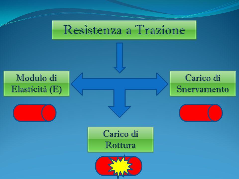 Resistenza a Trazione Modulo di Elasticità (E) Modulo di Elasticità (E) Carico di Snervamento Carico di Snervamento Carico di Rottura