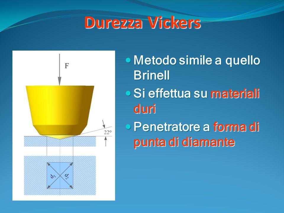 Durezza Vickers Metodo simile a quello Brinell Metodo simile a quello Brinell Si effettua su materiali duri Si effettua su materiali duri Penetratore a forma di punta di diamante Penetratore a forma di punta di diamante