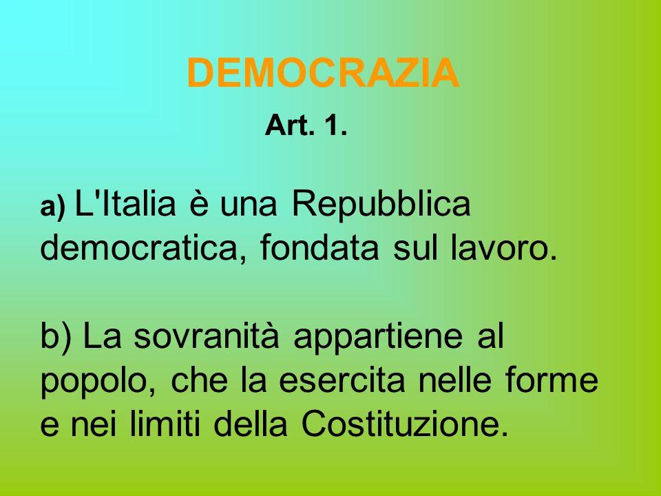 DEMOCRAZIA Art. 1. a) L Italia è una Repubblica democratica, fondata sul lavoro.