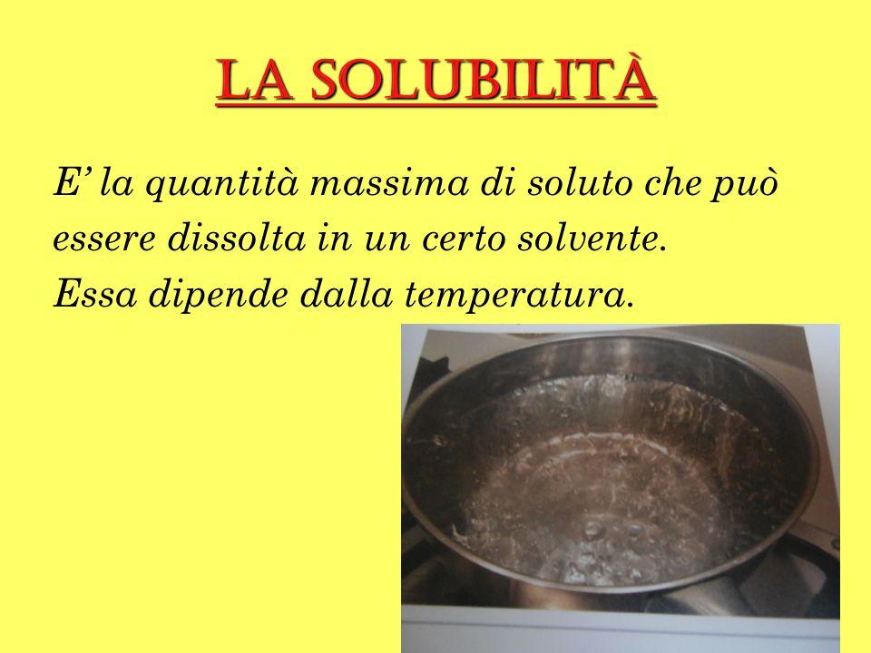 La solubilità E' la quantità massima di soluto che può essere dissolta in un certo solvente.