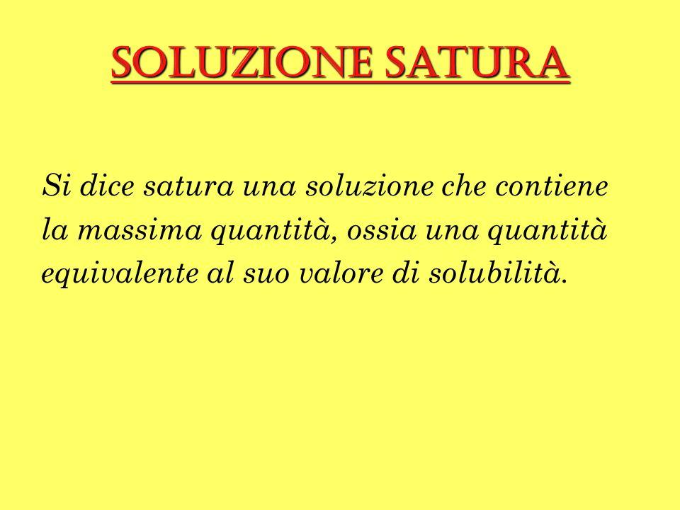 Soluzione satura Si dice satura una soluzione che contiene la massima quantità, ossia una quantità equivalente al suo valore di solubilità.