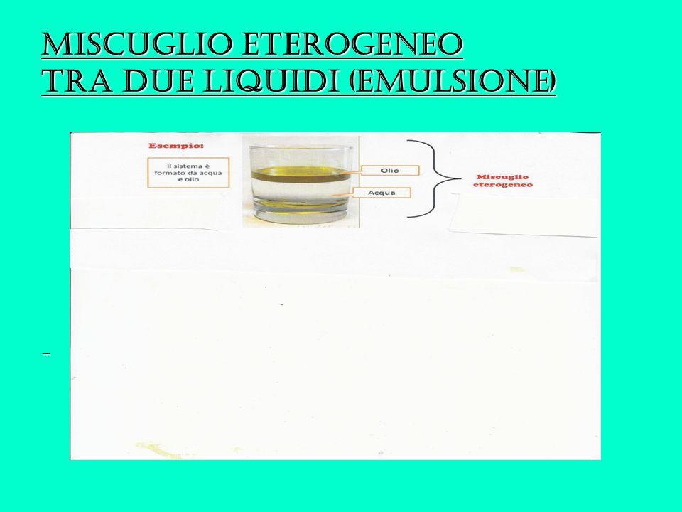 Miscuglio eterogeneo tra due liquidi (emulsione) -