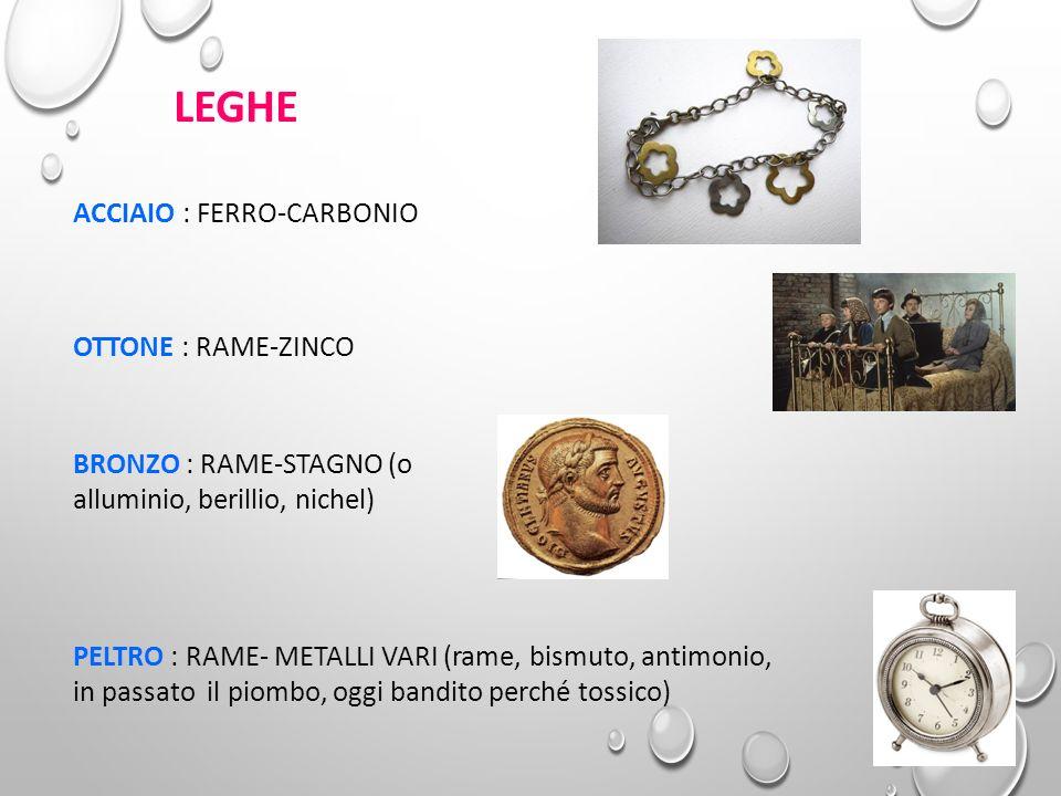 LEGHE ACCIAIO : FERRO-CARBONIO OTTONE : RAME-ZINCO BRONZO : RAME-STAGNO (o alluminio, berillio, nichel) PELTRO : RAME- METALLI VARI (rame, bismuto, an