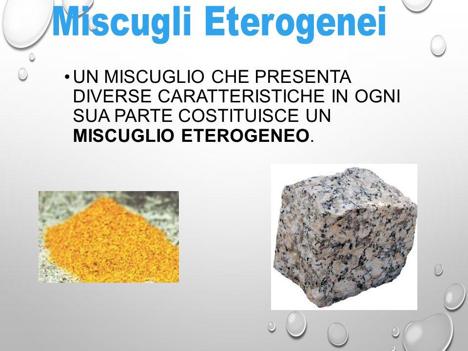 I miscugli omogenei si presentano in un unica fase mentre in quelli eterogenei sono sempre presenti più fasi.