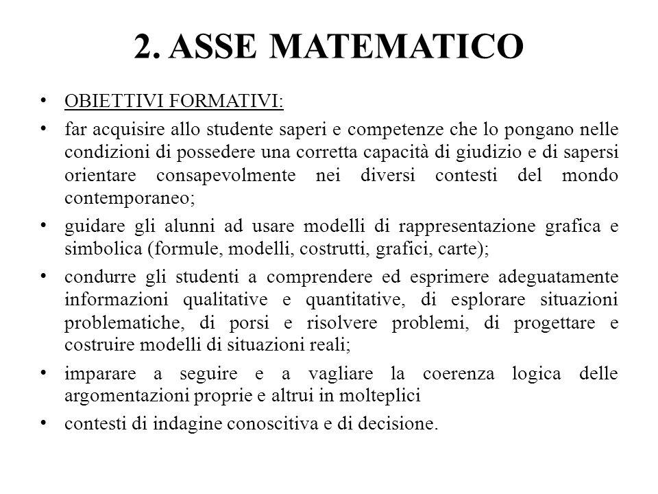 2. ASSE MATEMATICO OBIETTIVI FORMATIVI: far acquisire allo studente saperi e competenze che lo pongano nelle condizioni di possedere una corretta capa