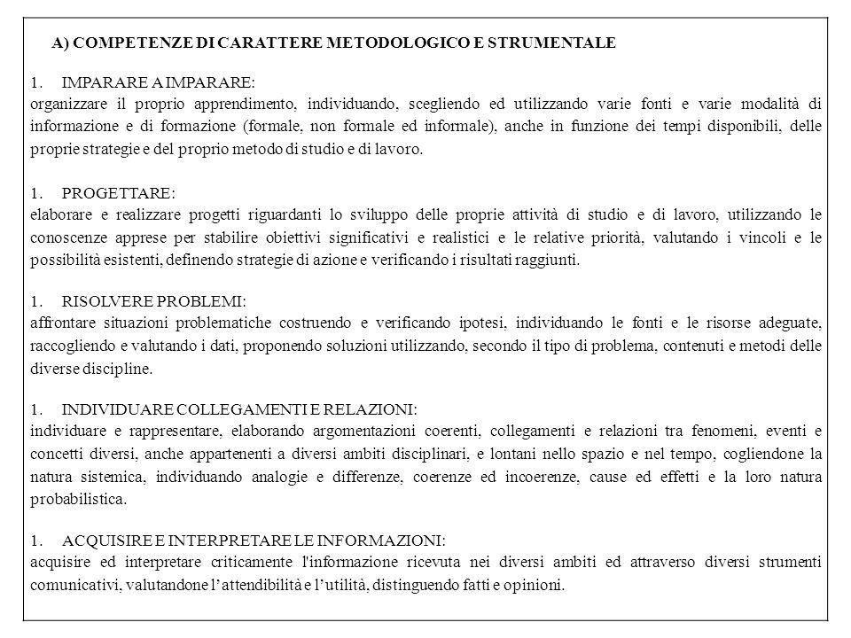 A) COMPETENZE DI CARATTERE METODOLOGICO E STRUMENTALE 1.IMPARARE A IMPARARE: organizzare il proprio apprendimento, individuando, scegliendo ed utilizz