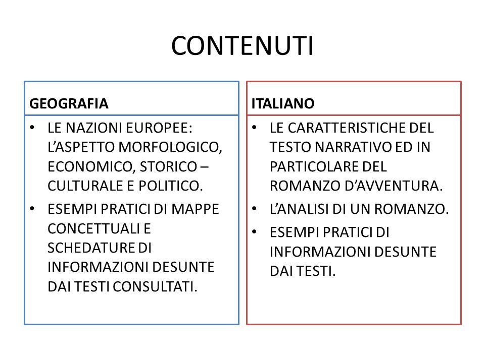 CONTENUTI GEOGRAFIA LE NAZIONI EUROPEE: L'ASPETTO MORFOLOGICO, ECONOMICO, STORICO – CULTURALE E POLITICO. ESEMPI PRATICI DI MAPPE CONCETTUALI E SCHEDA