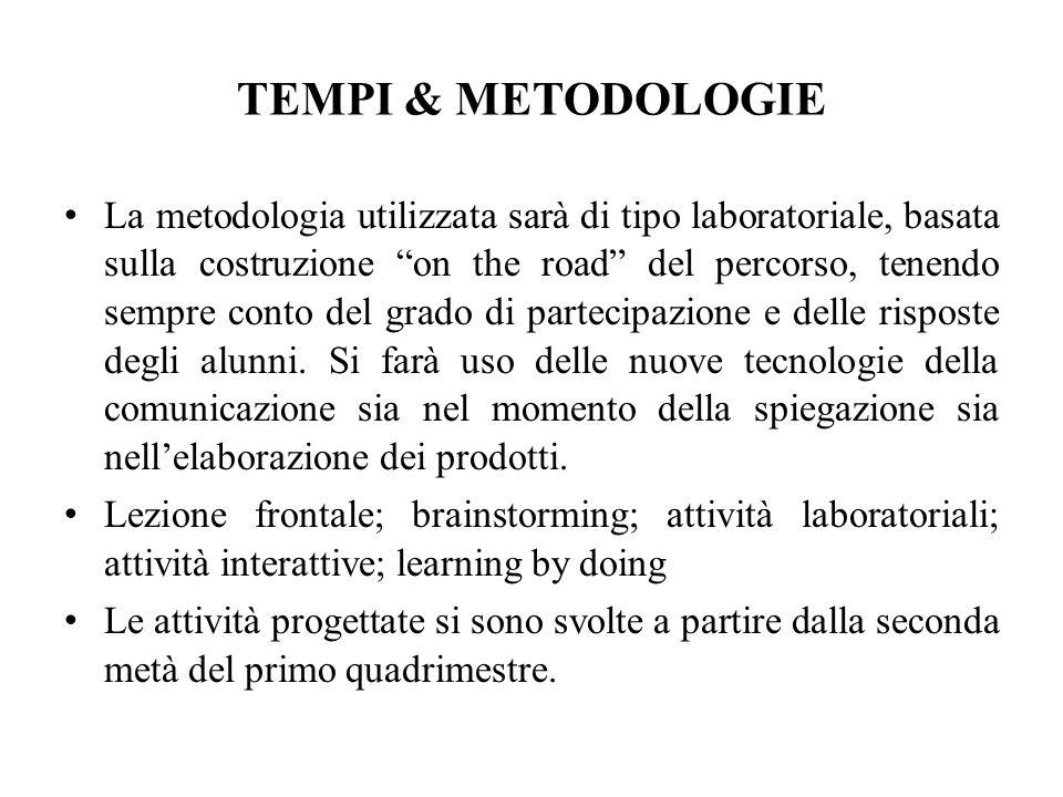 TEMPI & METODOLOGIE La metodologia utilizzata sarà di tipo laboratoriale, basata sulla costruzione on the road del percorso, tenendo sempre conto del grado di partecipazione e delle risposte degli alunni.
