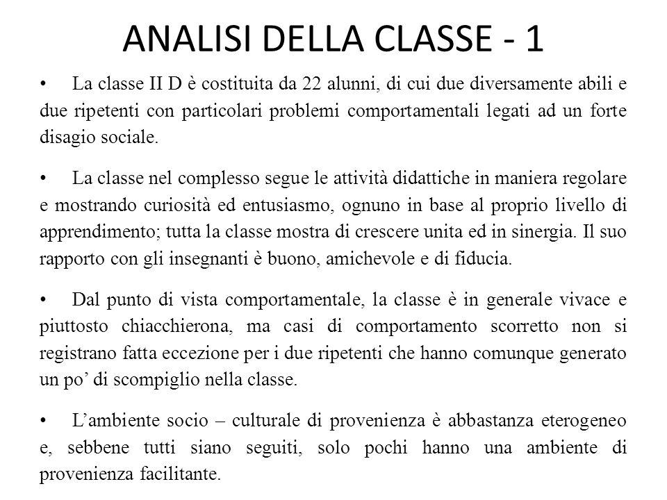 ANALISI DELLA CLASSE - 1 La classe II D è costituita da 22 alunni, di cui due diversamente abili e due ripetenti con particolari problemi comportamentali legati ad un forte disagio sociale.