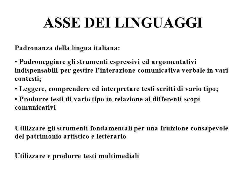 ASSE DEI LINGUAGGI Padronanza della lingua italiana: Padroneggiare gli strumenti espressivi ed argomentativi indispensabili per gestire l'interazione