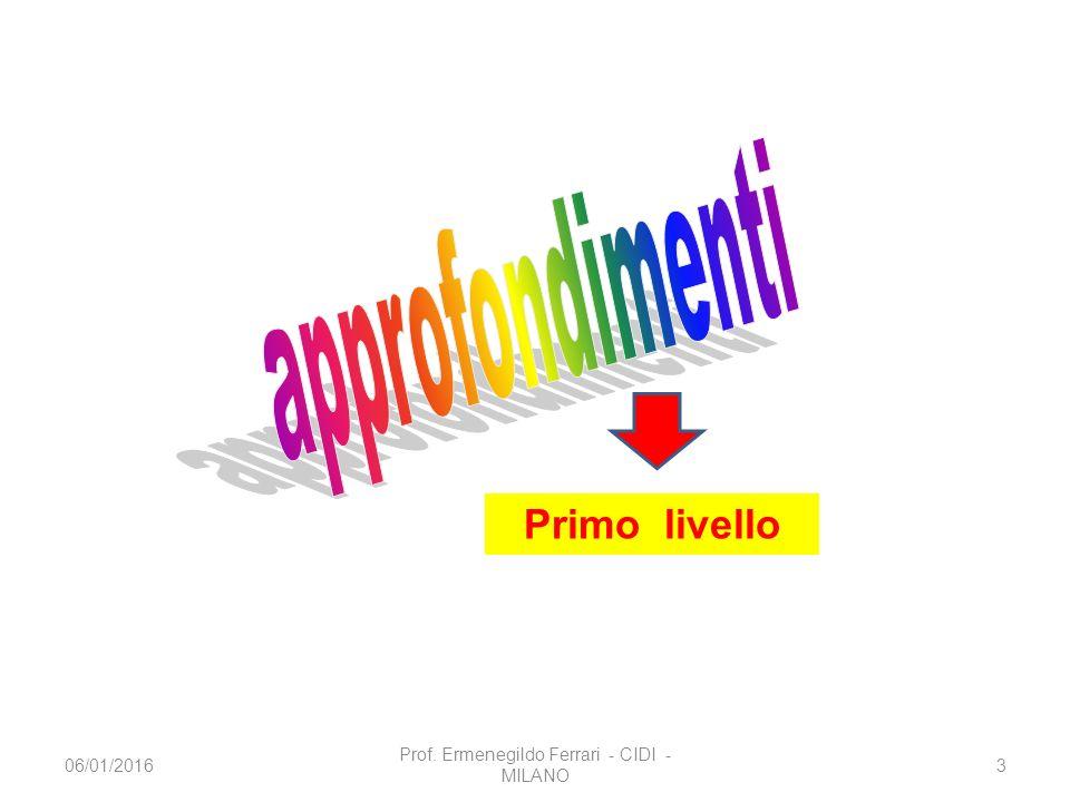 Primo livello 06/01/20163 Prof. Ermenegildo Ferrari - CIDI - MILANO