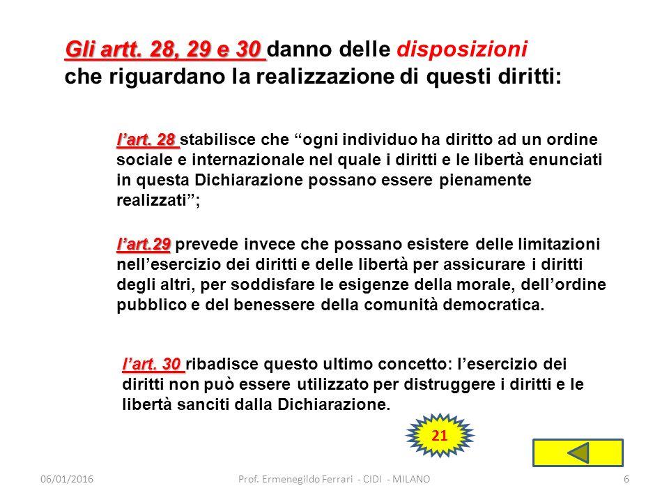 06/01/2016Prof.Ermenegildo Ferrari - CIDI - MILANO6 Gli artt.