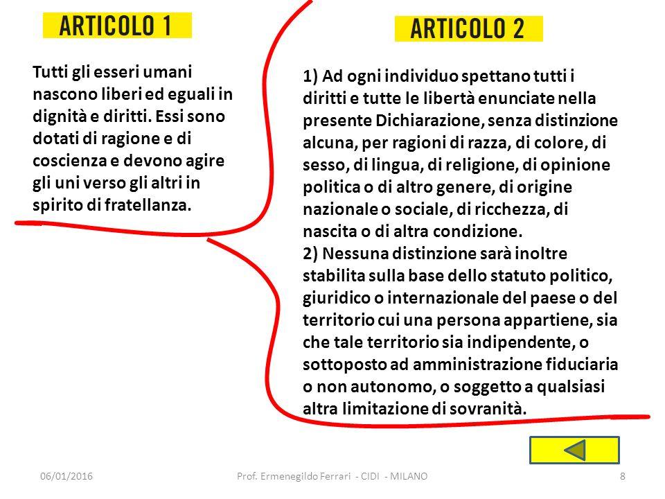 06/01/2016Prof.Ermenegildo Ferrari - CIDI - MILANO19 1) Ogni individuo ha diritto all'istruzione.