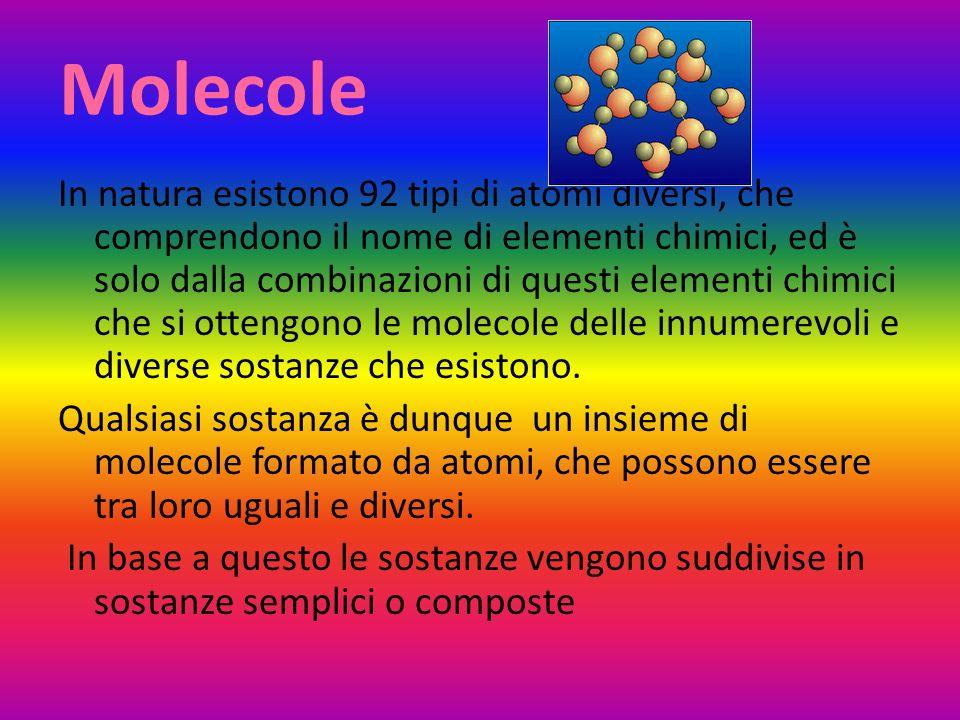 Molecole In natura esistono 92 tipi di atomi diversi, che comprendono il nome di elementi chimici, ed è solo dalla combinazioni di questi elementi chi
