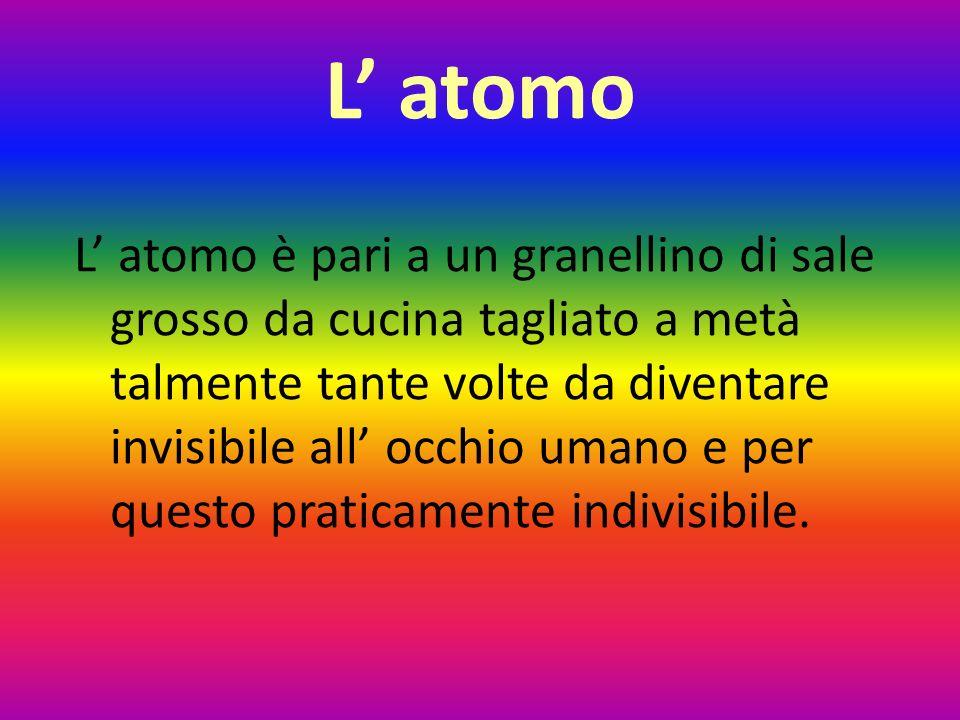 L' atomo L' atomo è pari a un granellino di sale grosso da cucina tagliato a metà talmente tante volte da diventare invisibile all' occhio umano e per