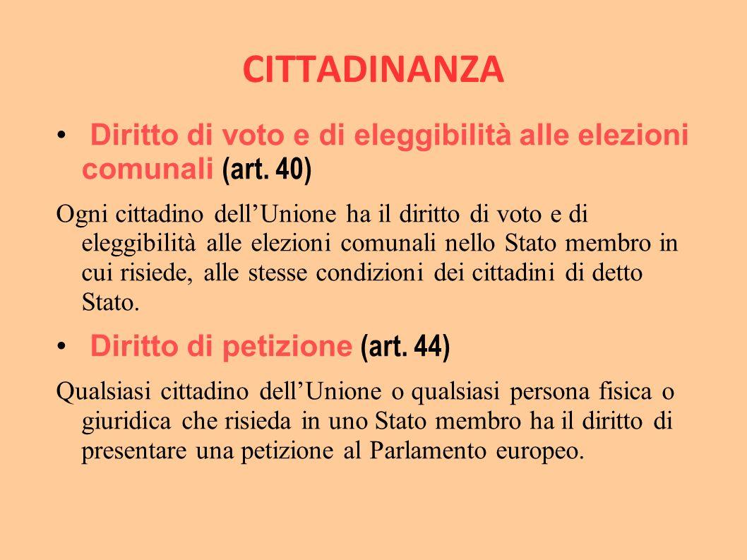 CITTADINANZA Diritto di voto e di eleggibilità alle elezioni comunali (art. 40) Ogni cittadino dell'Unione ha il diritto di voto e di eleggibilità all