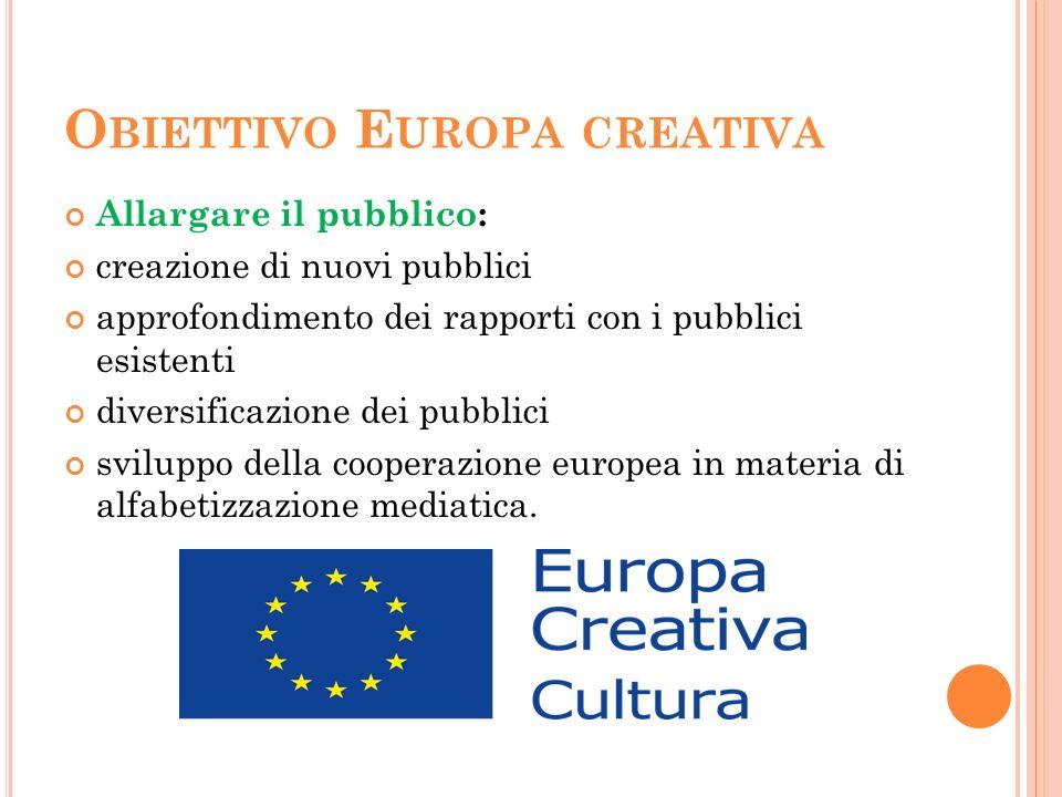 O BIETTIVO E UROPA CREATIVA Allargare il pubblico: creazione di nuovi pubblici approfondimento dei rapporti con i pubblici esistenti diversificazione dei pubblici sviluppo della cooperazione europea in materia di alfabetizzazione mediatica.