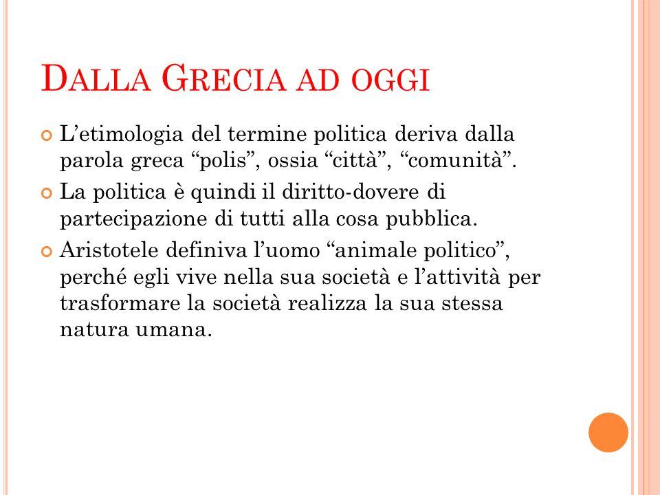 D ALLA G RECIA AD OGGI L'etimologia del termine politica deriva dalla parola greca polis , ossia città , comunità .