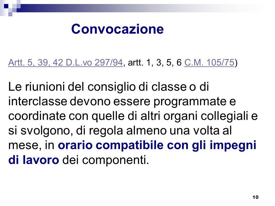 10 Convocazione Artt.5, 39, 42 D.L.vo 297/94Artt.
