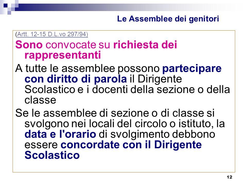 12 Le Assemblee dei genitori (Artt.12-15 D.L.vo 297/94)Artt.