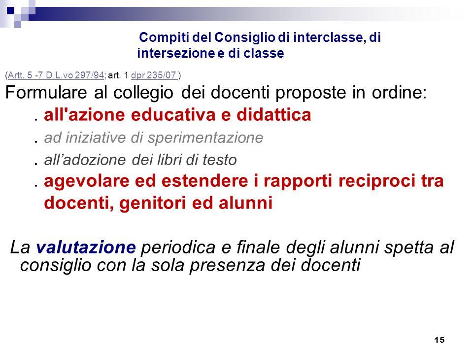 15 Compiti del Consiglio di interclasse, di intersezione e di classe (Artt.